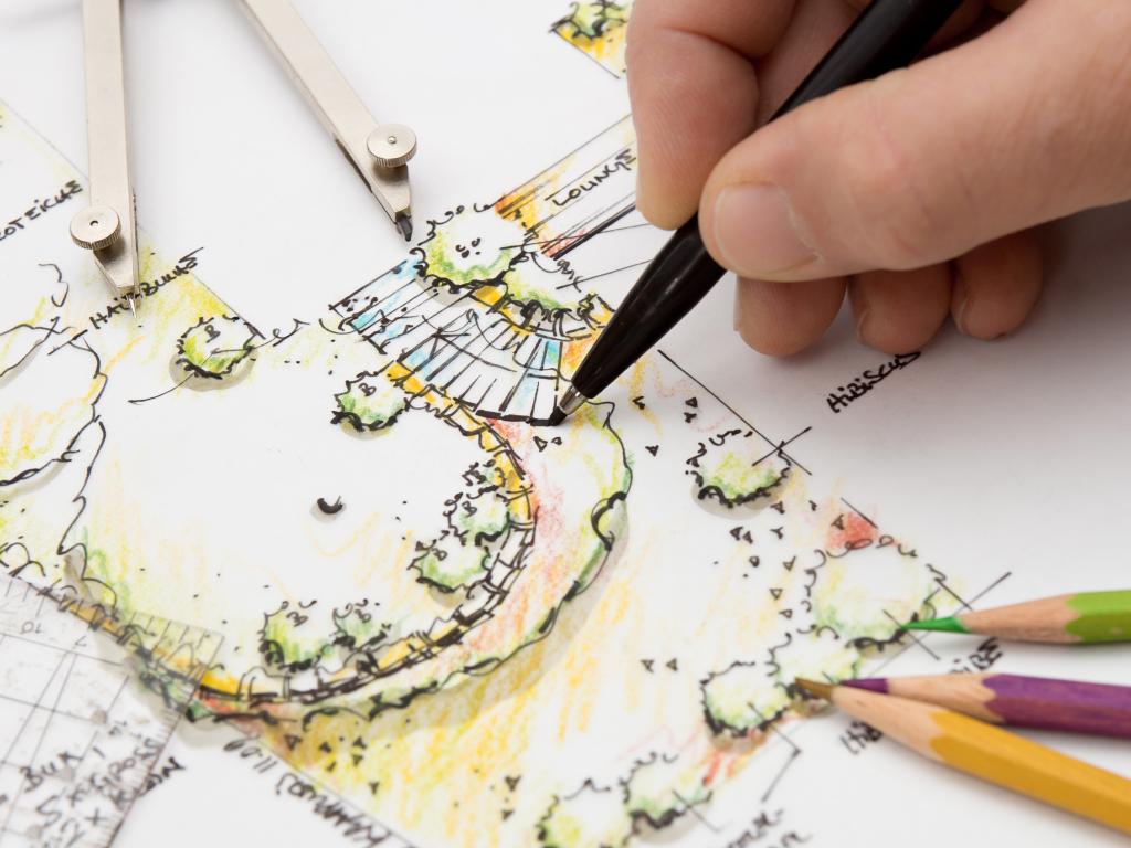 Landscape Architect sketching Detail on Garden Plan. Design, Idea and Sketch is my own Work.